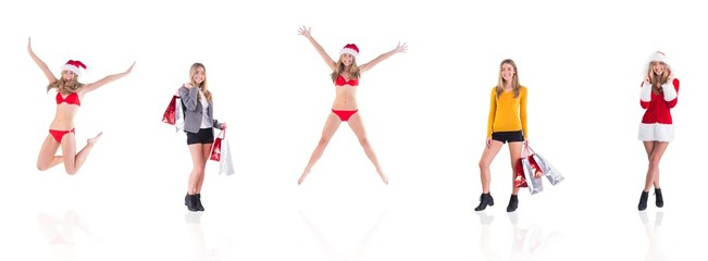 Composite image of festive fit blonde in red bikini