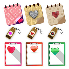 Hearts paper labels set - Illustration