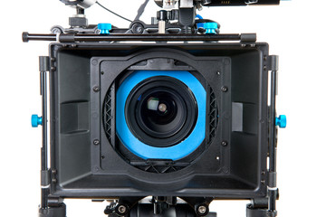 close to the lens of a video camera