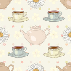 herbal chamomile tea party seamless pattern