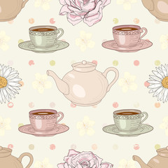 herbal tea party seamless pattern