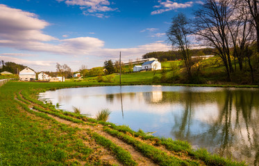 Pond in rural York County, Pennsylvania.