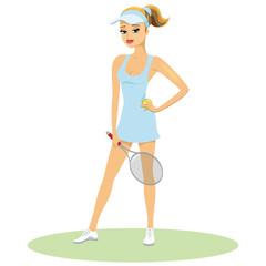 Beauty in tennis uniform with racquet