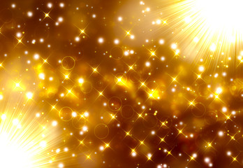 Glittery golden festive background with stars