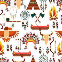 Seamless Pattern American Tribal Native Symbols