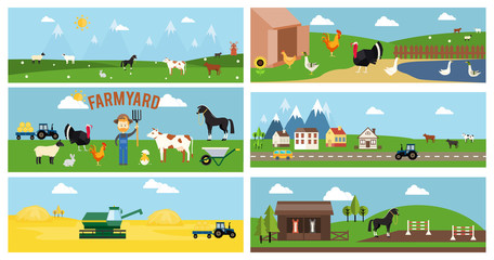 Beautiful Farmyard Cartoon Banners