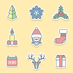 vector flat christmas outline labels icons set