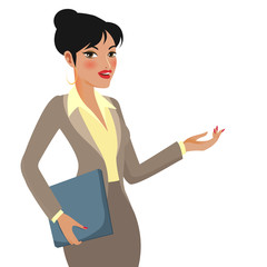 Businesswoman Cartoon Making Presentations