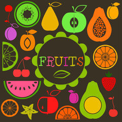Set of different colorful fruits