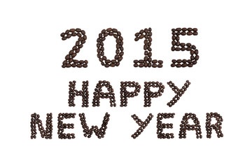 '2015 Happy New Year' written with coffee beans