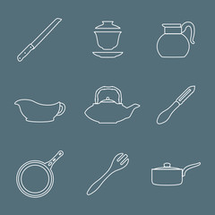 vector outline dinnerware tableware utensil icons