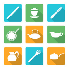 vector flat design white dinnerware tableware utensil icons