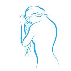 kobieta myjąca włosy wektor