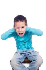 young boy screaming