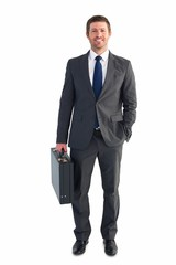 Businessman standing with his briefcase