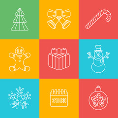 vector christmas new year outline colored background icons set