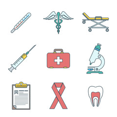 vector various color outline medical icons on white background