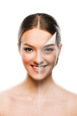 Beautiful woman changing skin beauty concept