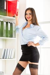 Sexy Secretary With Binders