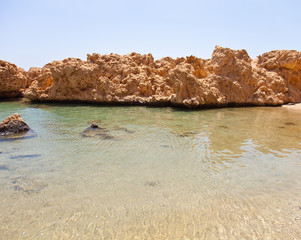 view of the rocky coast of the Red Sea from the sea. tinted
