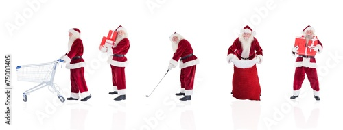 Papiers peints Golf Composite image of different santas