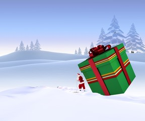 Composite image of santa delivering large gift