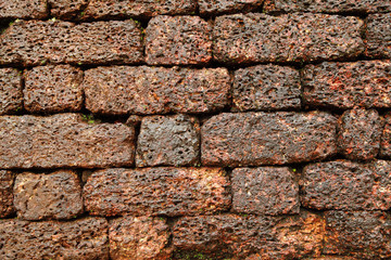 Beautiful pattern of bricks on the wall of  Aguada Fort