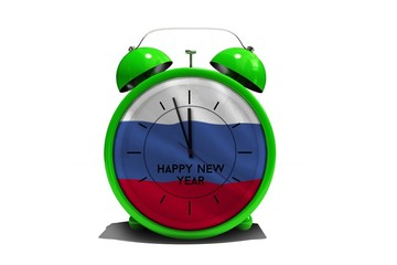 Composite image of happy new year in green alarm clock