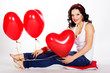 Sexy brunette with balloons heart. valentine's day