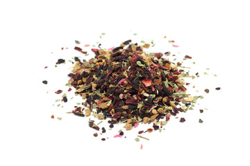 pinch of fruit tea on a white background