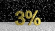 Falling Snow on Golden Three Percent