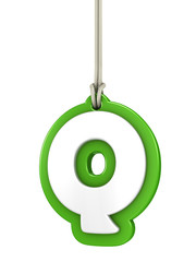 Green capital letter Q hanging on rope with clipping path