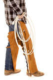 cowboy legs chaps hold rope poster
