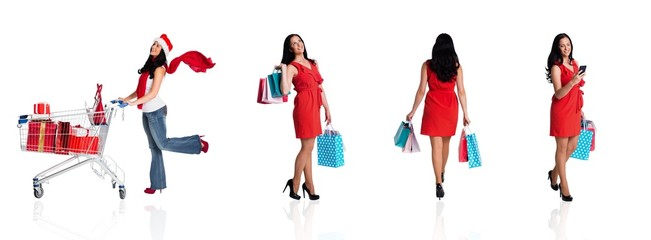 Composite image of woman standing with shopping bags