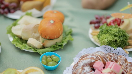 Fruits, greens and bakery on picnic in the forest