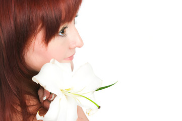 The girl with a lily flower