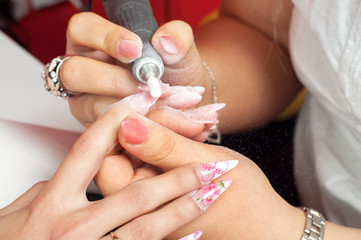 Manicure process - making of artificial nails