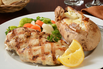 Grilled chicken and baked potato
