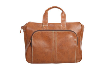 Brown Vintage leather briefcase with path