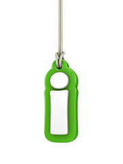 Green lowercase letter I hanging on rope with clipping path