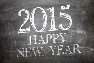 2015 Happy New Year written on blackboard
