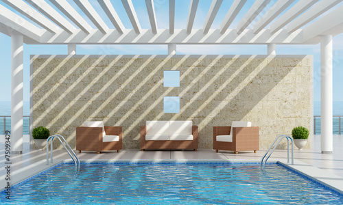 Deurstickers Tuin Summer house with pool