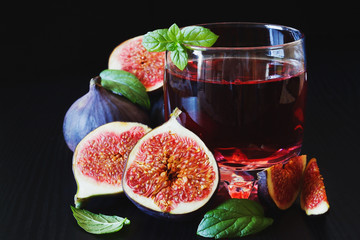ripe figs and fruit drink