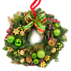 Christmas decoration wreath isolated on white
