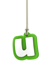Green lowercase letter U hanging on rope with clipping path