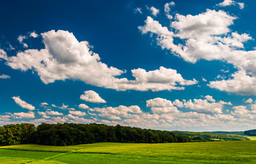 Summer clouds over fields  and hills in rural York County, Penns