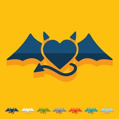 Flat design: heart devil