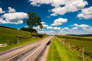 Summer sky over country road in rural York County, Pennsylvania.
