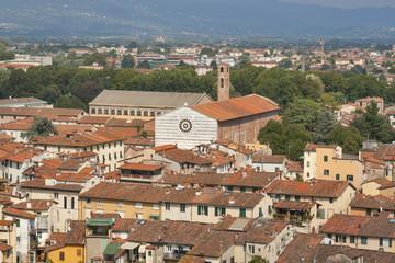 Lucca cityscape with church of San Francesco