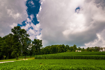 Summer storm clouds over farm fields in Southern York County, PA
